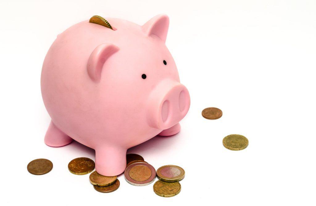 ぶたの貯金箱とお金