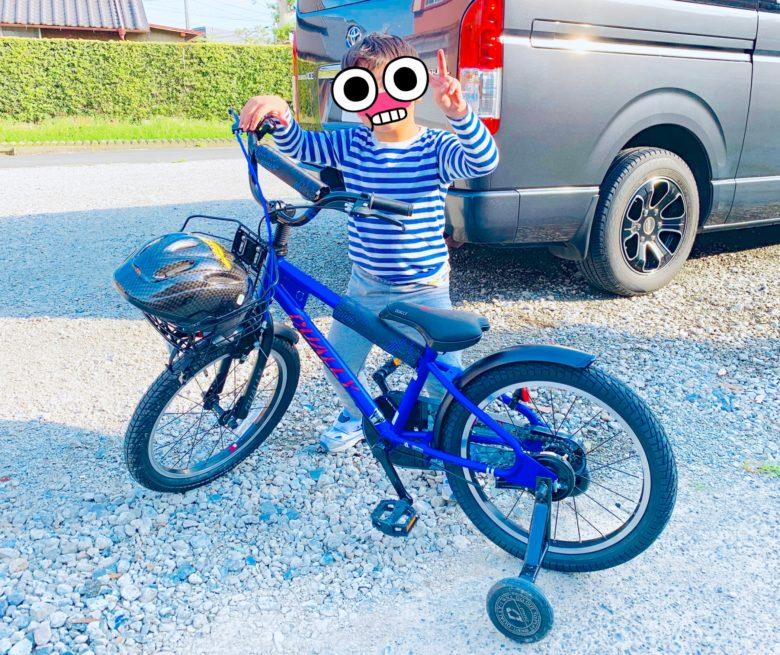 自転車と一緒にピースサインで写真に写る子ども
