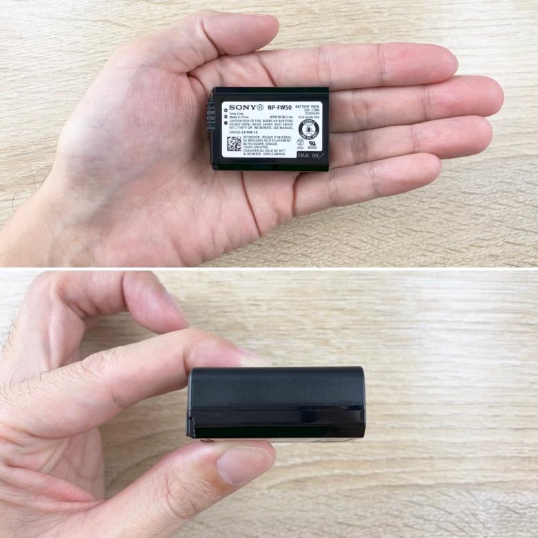 SONY  NP-FW50のサイズ感